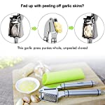 Aickar Garlic Press, FDA Approved Garlic Mincer and Chopper, Garlic Peeler Silicone Tube Roller and Crusher, Garlic Chopper Stainless Steel 12 1. [Solid Stainless Steel]: This garlic press metal is made of solid and high quality stainless steel to ensure it's durability and long lifespan. And most of all, this garlic press chopper is approved by FDA, you can rest assured to use it and set in your everyday cooking. 2. [Efficient Press Garlic Chopper]: Mincing both unpeeled and peeled garlic cloves with this garlic press mincer is quickly and easily. A simple squeeze could save you a lot of time and efforts. Better yet, it's designed to mince garlic into fine and uniform size and achieve the minimum waste of garlic. 3. [Easy Squeeze Garlic Press]: This garlic press is designed with heavy duty structure yet not too heavy to grip, together with garlic press good grips that are designed according with human body mechanics, making mincing garlic and effortless, easy and fun work to do in your kitchen!