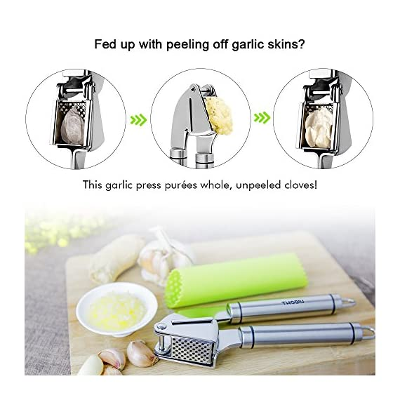 Aickar Garlic Press, FDA Approved Garlic Mincer and Chopper, Garlic Peeler Silicone Tube Roller and Crusher, Garlic Chopper Stainless Steel 4 1. [Solid Stainless Steel]: This garlic press metal is made of solid and high quality stainless steel to ensure it's durability and long lifespan. And most of all, this garlic press chopper is approved by FDA, you can rest assured to use it and set in your everyday cooking. 2. [Efficient Press Garlic Chopper]: Mincing both unpeeled and peeled garlic cloves with this garlic press mincer is quickly and easily. A simple squeeze could save you a lot of time and efforts. Better yet, it's designed to mince garlic into fine and uniform size and achieve the minimum waste of garlic. 3. [Easy Squeeze Garlic Press]: This garlic press is designed with heavy duty structure yet not too heavy to grip, together with garlic press good grips that are designed according with human body mechanics, making mincing garlic and effortless, easy and fun work to do in your kitchen!