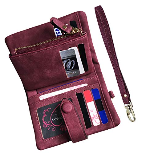 (Women's Small Bifold Leather wallet Rfid blocking Ladies Wristlet with Card holder id window Coin Purse (Purple))