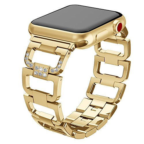 (UMTELE Compatible Apple Watch Band 38mm, Bling Stainless Steel Link Bracelet Jewelry Clasp Replacement Apple Watch Series 1, Series 2, Series 3, Gold)