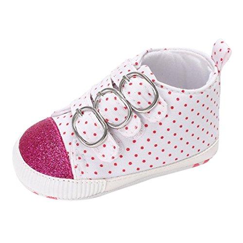 Babyschuhe Longra Baby Schuhe Mädchen Neugeborene Leinwand Krabbelschuhe Soft Sole Lauflernschuhe Sneakers(0 ~ 18 Monate) Hot Pink