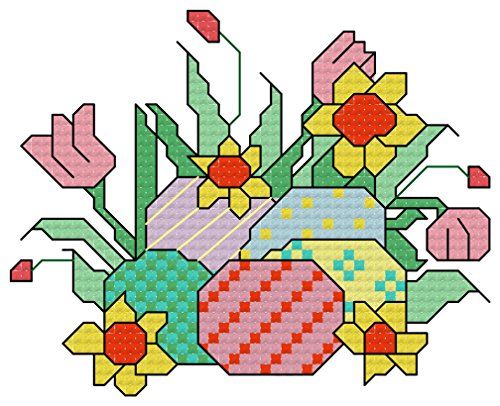 Stitch Chart Cross Flowers - Easter eggs and spring flowers cross stitch chart/ pattern: Cross stitch chart suitable for Easter for cards and for putting in frames