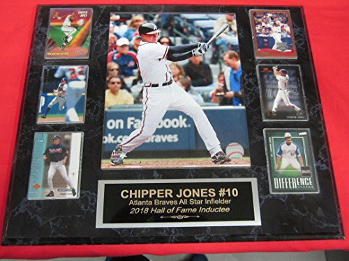 Chipper Jones BRAVES 6 Card Collector Plaque w/8x10 (Atlanta Braves Clubhouse)