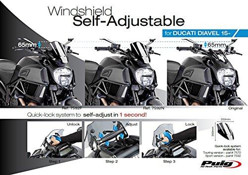Windscreen Puig Sport Ducati Diavel 14-18 black