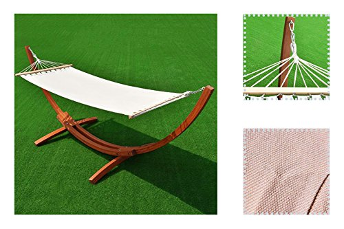 eXXtra Store Outdoor Cotton Hammock with Hammock Stand Wooden Curved Arc + eBook