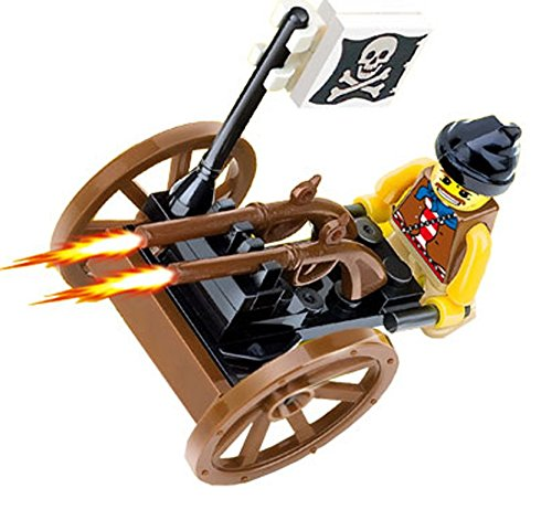 Pirate Cap Pistol - Pirates Raid Invincible Pirates Chariots - 28 pcs of warring black cap pirate armed with firing double mounted guns on rotating skull flagged chariot - a must for children 6+ Compatible Bricks
