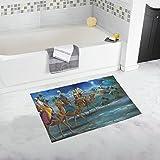 Unique Debora Custom Non-Slip Bath Mat Rug Bath Doormat Floor Rug 16x28 Inch for Holy Family And Three Kings