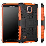 good case for note 4 - Galaxy Note 4 Case, [ Shockproof ] Samsung Galaxy Note 4 Case Heavy Duty Rugged Dual Layer TPU Textured Non Slip Reinforced Polycarbonate Hybrid Case for Samsung Galaxy Note 4 with Kickstand (Orange)