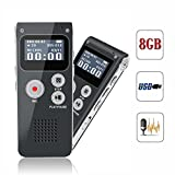 KLAREN 8GB Digital Voice Recorder 8G Dictaphone MP3 Player USB WAV + Microphone Speaker