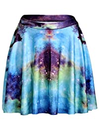 Sister Amy Women's Pleated Elastic Waist Band Flared Galaxy Print Midi Skater