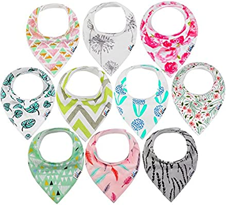 10-Pack Baby Bandana Drool Bibs for Drooling and Teething