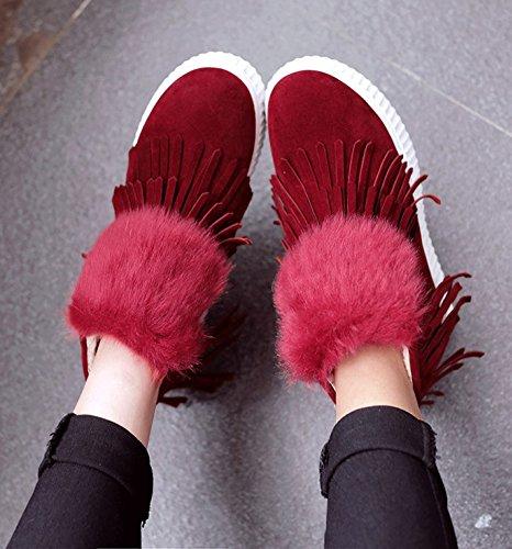 Aisun Femmes Chaude Décontractée Côté Frangé Glissière Bout Rond Plate-forme Plate Cheville Neige Sneaker Chaussons Rouge