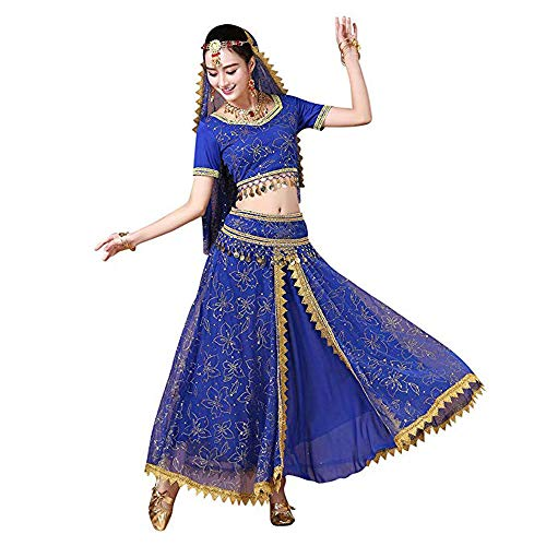 5 PCS Women's Costume Tops Skirt Set with Accessories Belly Dance Performance Outfit (M, Blue)