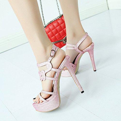 Pink talón Shoes Nightclub Day del 12 CM Tacones Etapa altos zapatos ZHIRONG Roma pie del High 5 sandalias las del verano de del abierto dedo mujeres Odio CN38 Pink fino 5 UK5 Color de Tamaño EU38 HCO1B41