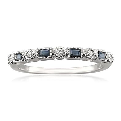 Amazon.com: 14k White Gold Round & Baguette Diamond & Blue Sapphire ...