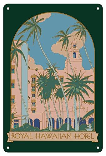 Pacifica Island Art 8in x 12in Vintage Tin Sign - Honolulu, Hawaii - Royal Hawaiian Hotel