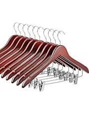 High-Grade Wooden Suit Hangers Skirt Hangers with Clips Smooth Solid Wood Pants Hangers with Durable Adjustable Metal Clips, 360° Swivel Hook, Shoulder Notches for Dress, Jackets, Blouse