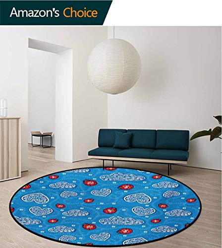 - RUGSMAT Ladybugs Modern Machine Washable Round Bath Mat,Ladybugs and Ornate Clouds Magic in The Air Pure Hope Creatures Art Design Print Non-Slip Soft Floor Mat Home Decor,Diameter-47 Inch