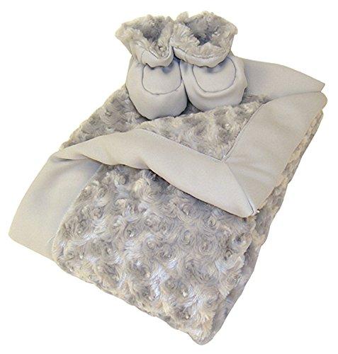 Luxe Gift Set - Gray Swirl Velour Blanket And Booties