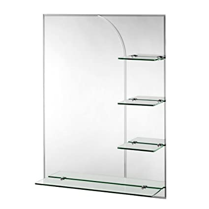 Croydex Bampton Bevelled Edge Wall Mirror 32 Inch X 24 Inch With Shelves And