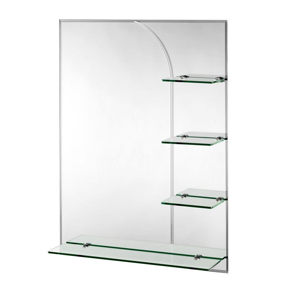Croydex Bampton Bevelled Edge Wall Mirror 32-Inch x 24-Inch with Shelves and Hang 'N' Lock Fitting System