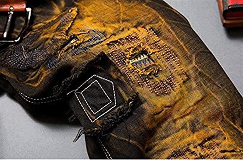 Vintage Dritti Torn Biker Da Fit Patches Retrogelb Dall'aspetto Uomo Jeans Stile Denim Pants Distrutto Hig Semplice In Pantaloni qE7Sxq