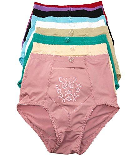 Peachy Panty 6 Pack Women's Travel Pocket Girdle Briefs Panties S-4XL (Secret Zipper Pocket, (Zipper Panty Girdle)