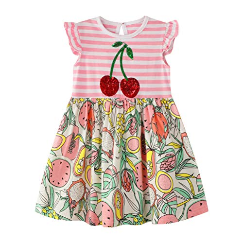 Cute Dress for Girl Sleeveless Cotton Summer Vintage Floral Print Swing Party Dresses -