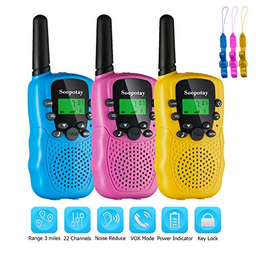 Soopotay Walkie Talkie for Kids 2 Pack & 3 Pack, Kids Walkie Talkies Girls and Boys, Kids Two-Way Radios Toys with 3 Miles Long Distance and 22 Channels, Child Walky Talky for 3-12 Years (3 Pack)