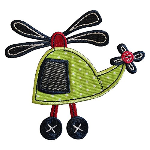 2 iron-on appliques set - Helicopter 11X11Cm and Cat 4X10Cm embroidered application set by TrickyBoo Design Zurich Switzerland