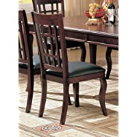 Coaster 100502 Side Chairs Cherry Finish Black Vinyl Seats Set Of 2