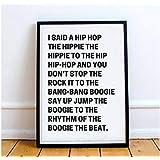 Arvier Rappers Delight Sugar Hill Gang Lyrics Print Hip Hop Rap I Said a Hip hop Rap Lyrics Printable Old School Rap Framed Wall Art