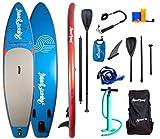 AQUAPLANET 10ft 6' x 15cm PACE Stand Up Paddle board kit.Air Pump With Pressure Gauge,Adjustable Aluminium Floating Paddle, Repair Kit,Heavy Duty Rucksack,Premium Leash & 4 Kayak Seat Rings