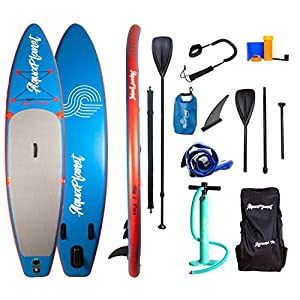 Aquaplanet 10ft 6″ x 15cm PACE Stand Up Paddleboard – Incl: SUP, Hand Air Pump w/Pressure Gauge, Adjustable Aluminum Floating Paddle, Repair Kit, Rucksack, Coiled Leash & 4 Kayak Seat Ring Fittings