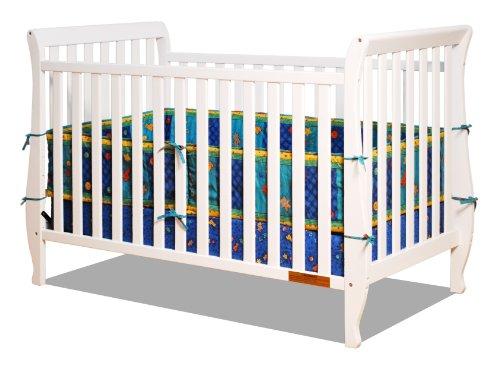 Crib Sleigh 1 (Athena Naomi 4 in 1 Crib with Toddler Rail, White)