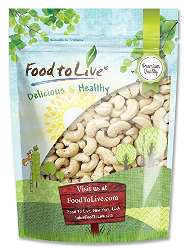 Raw Cashews, 1 Pound - Deluxe Whole Nuts, Unsalted, Unroasted Fancy Snack, Size W-320, Kosher, Vegan, Bulk, A good source of Magnesium, Phosphorus, Copper & Manganese