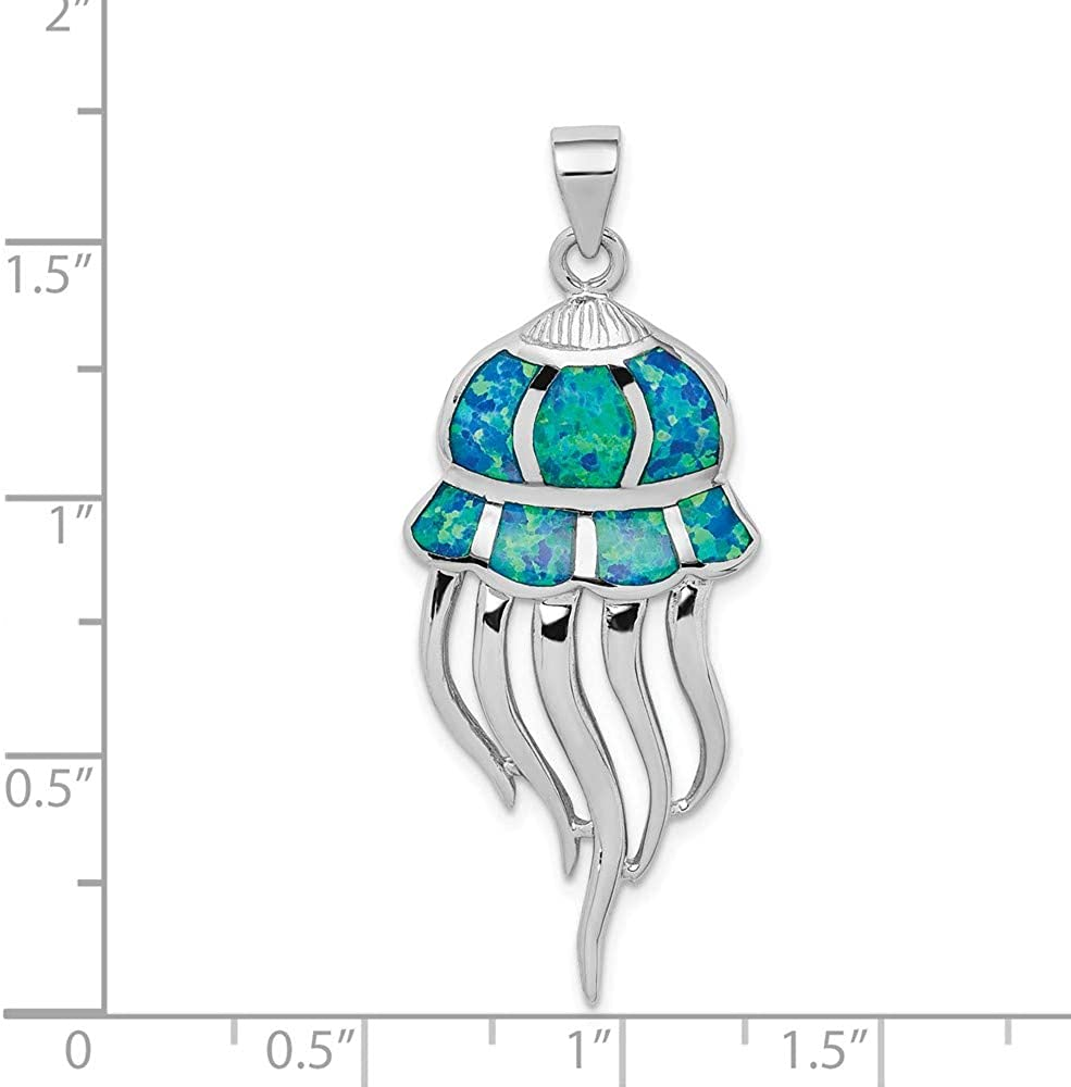 925 Sterling Silver Created Blue Opal Jellyfish Pendant Charm Necklace Sea Life Fine Jewelry For Women Gifts For Her 51DsuoZpzKL