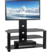 Yaheetech 3 Tiers Adjustable TV Stand TV Entertainment Center Mount for 37''-60'' TV Unit Black Glass w/Bracket