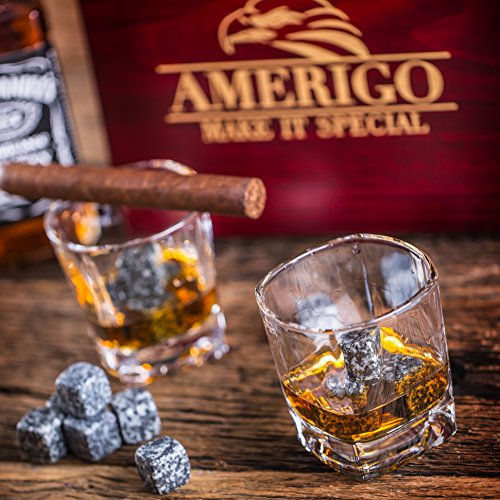 Impressive Whiskey Stones Gift Set with 2 Glasses - Be Different When Choosing a Gift - Luxury Handmade Box with 8 Granite Whiskey Rocks, Ice Tongs & Velvet Bag - Ice Cubes Reusable - Best Man Gift by Amerigo (Image #7)
