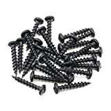 "100 Pack Rok Hardware #8 x 1"" Coarse Deep Thread Pan Head Screws Black Phosphate Wood MDF"