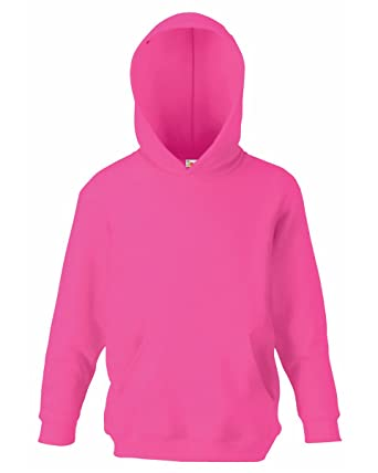 Fruit Of The Loom Kids Childrens Hoodie Hooded Sweatshirt Fuchsia 7-8 Years
