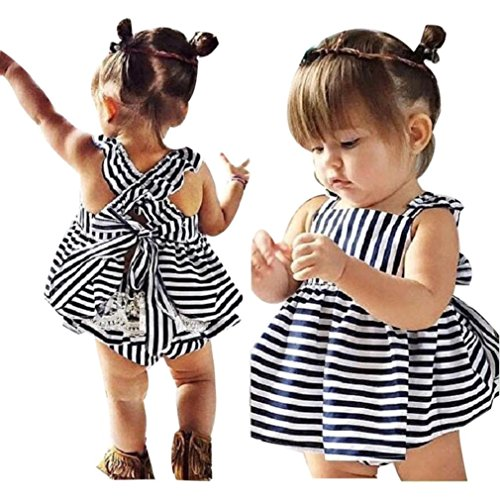 Goodtrade8 Gotd Baby Girls Sunsuit Outfit Stripe Backless Dress + Brief Infant Clothes (24M, Navy)