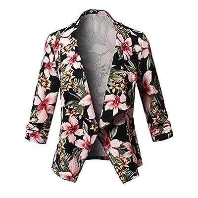 JMETRIE ? Women's 3/4 Sleeve Blazer Open Front Short Floral Cardigan Suit Work Coat Jacket