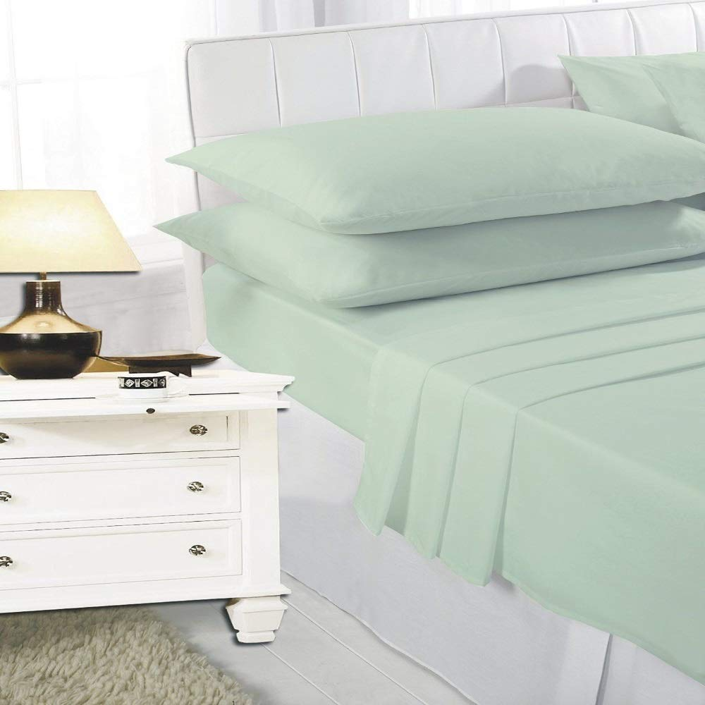 HOME TLC HTLC PLAIN DYED MINT COMPLETE SHEET SET, FITTED FLAT PILLOW CASE SET, POLY COTTON BED SHEET SET SINGLE