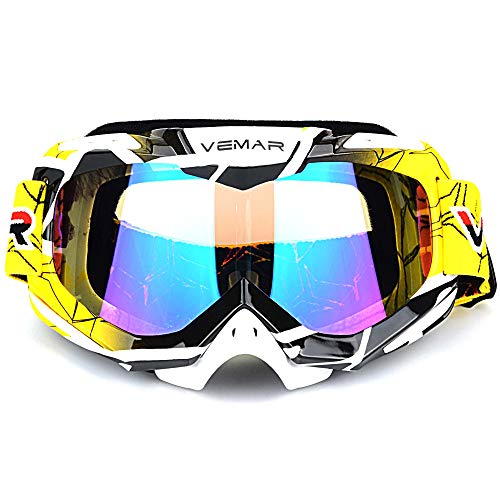 (Polarized Sport Motorcycle Motocross Goggles ATV Racing Goggles Dirt Bike Tactical Riding Motorbike Goggle Glasses, Bendable Windproof Dustproof Scratch Resistant Protective Safety Glasses (Yellow))