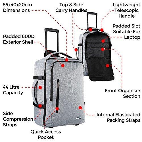 Mochila de Viaje. Mochila de cabina aprobada para Vuelos como equipaje de mano. (Gris Trolley): Amazon.es: Equipaje