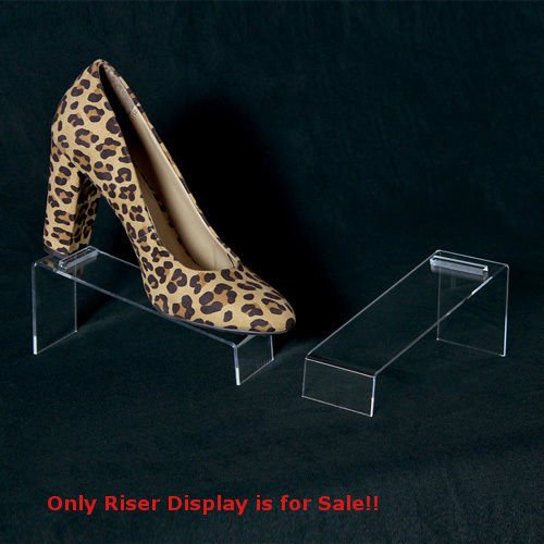 Box of 10 Slanted Acrylic Shoe Riser Display 7 in. W x 2 1/2 in. D x 3 in. H