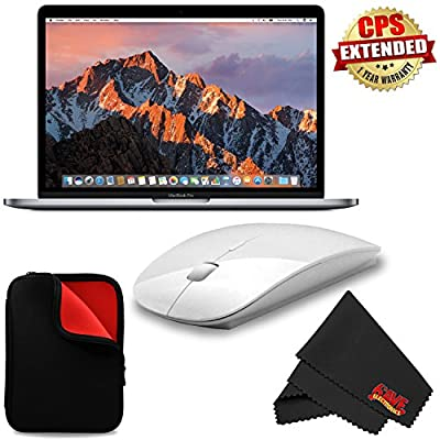 """6Ave Apple 13.3"""" MacBook Pro (Mid 2017, Space Gray) MPXQ2LL/A + MicroFiber Cloth + 2.4 GHz Slim Optical Wireless Bluetooth + Padded Case For Macbook Bundle"""
