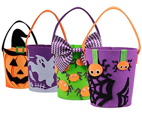KI Store Trick or Treat Bags Halloween Candy Buckets Baskets Totes Gift Bags for Kids Girls Boys 6.7