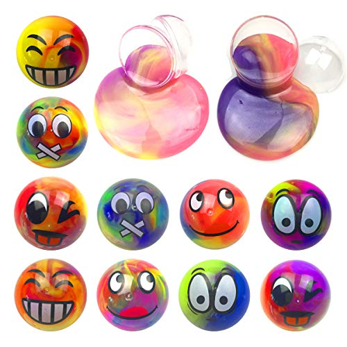 Anditoy 10 Pack Emoji Slime Balls Colorful Silly Putty Big Galaxy Slime Toys for Kids Girls Boys Party Favors Easter Basket Stuffers Fillers Gifts